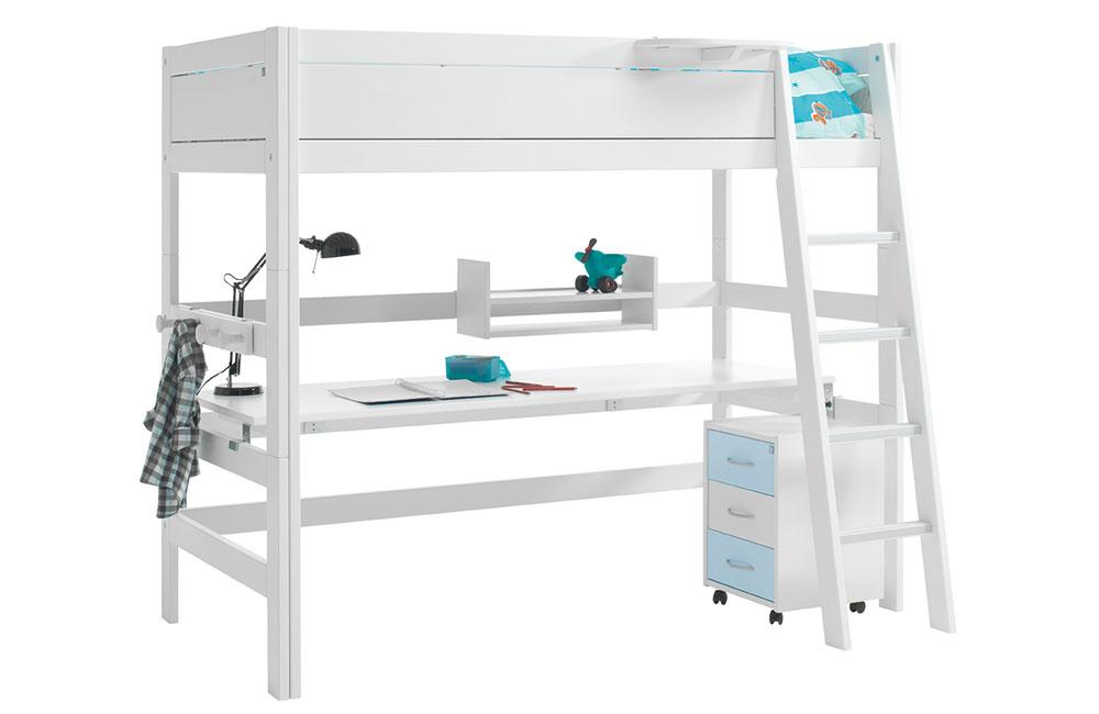 lifetime hochbett mit integriertem schreibtisch in wei. Black Bedroom Furniture Sets. Home Design Ideas